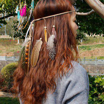 Peacock Feather Boho Beads Braided Hairband