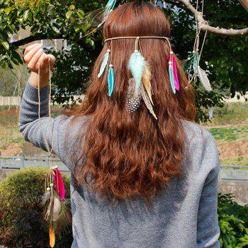 Bead Feathers Bohemian Braid Hairband