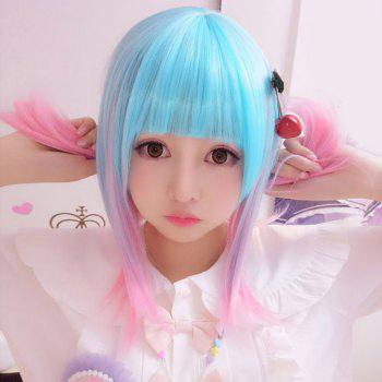 Harajuku Kawaii Medium Straight Full Bang Ombre Lolita Cosplay Wig