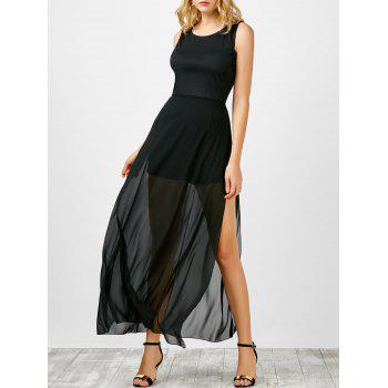 Chiffon Insert Side Slit Dress