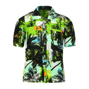 Short Sleeve Coconut Tree Printed Shirt