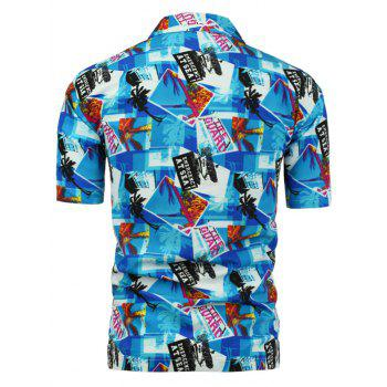 Short Sleeve Graphic Print Hawaiian Shirt - BLUE BLUE