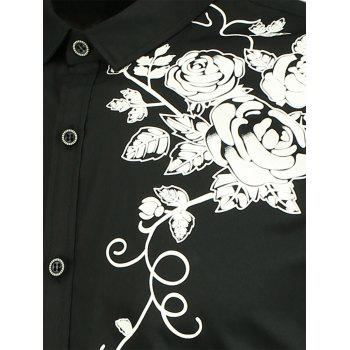 Flowers Pattern Button Up Shirt - BLACK BLACK