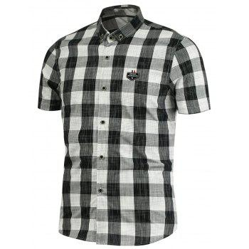 Button Down Plaid Pattern Shirt - BLACK M