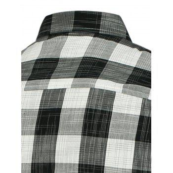 Button Down Plaid Pattern Shirt - M M