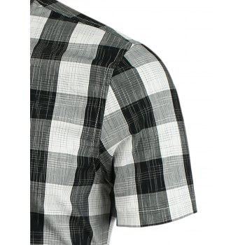Button Down Plaid Pattern Shirt - BLACK 3XL
