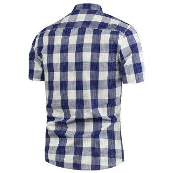 Button Down Plaid Pattern Shirt - BLUE BLUE