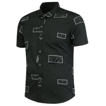 Geometric Pattern Button Up Shirt - BLACK BLACK