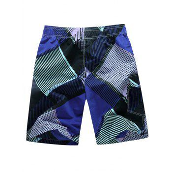 Printed Tie Front Board Shorts - PURPLE XL