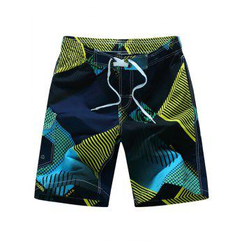 Printed Tie Front Board Shorts
