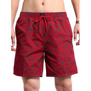 Floral Printed Tie Front Board Shorts