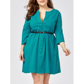 Plus Size Button Up Shirt Dress With Belt