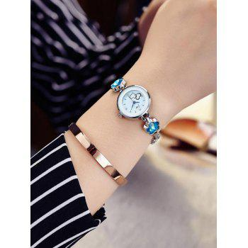 JW Alloy Band Rhinestone Flower Watch