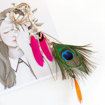 Peacock Feather Pendant Headband - ROSE RED