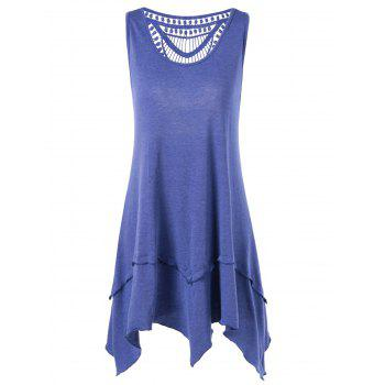Crochet Trim Layered Asymmetrical T-Shirt