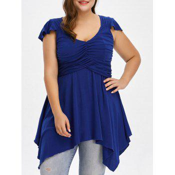 Plus Size Cap Sleeve Ruched Asymmetrical T-Shirt