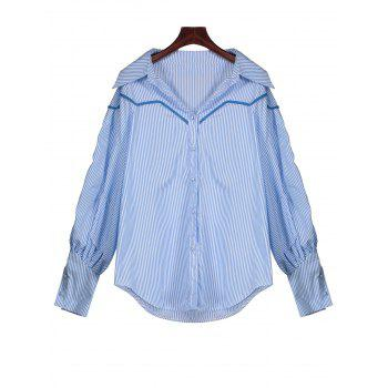 Puff Sleeve Button Up Striped Shirt