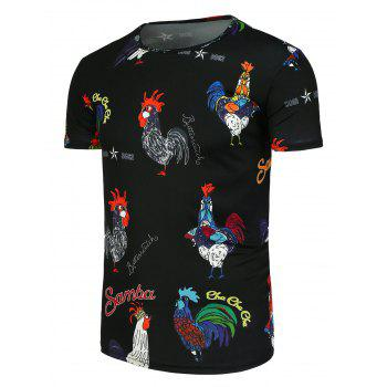 Colored Cock Printed Short Sleeve T-Shirt