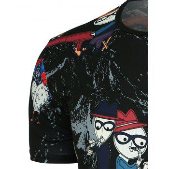 Cartoon and Colored Chicken Printed T-Shirt - BLACK BLACK