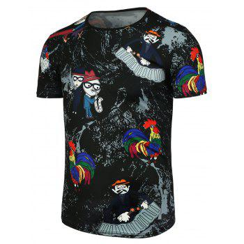 Cartoon and Colored Chicken Printed T-Shirt - BLACK 3XL