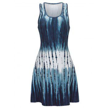 U Neck Abstract Print Mini Tank Dress