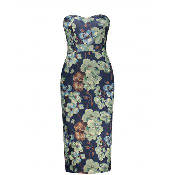 Strapless Floral Print Empire Waist Pencil Dress