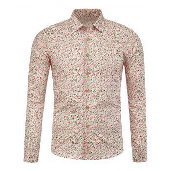 Long Sleeve Tiny Flowers Printed Shirt
