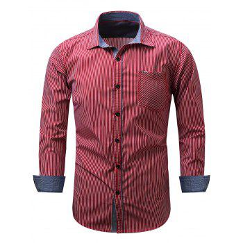 Embroidered Pocket Vertical Striped Shirt - RED M