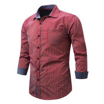 Embroidered Pocket Vertical Striped Shirt - RED RED