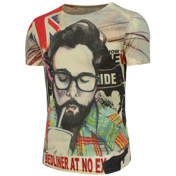 Graphic and Handsome Man Print T-Shirt - COLORMIX 3XL