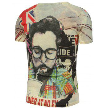 Graphic and Handsome Man Print T-Shirt - 3XL 3XL
