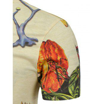 3D Floral and Insect Printed T-Shirt - L L