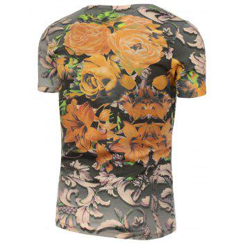 Flowers Printed T-Shirt - 3XL 3XL
