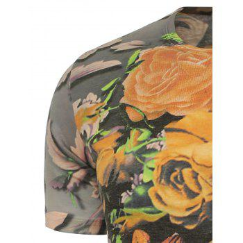 Flowers Printed T-Shirt - 4XL 4XL
