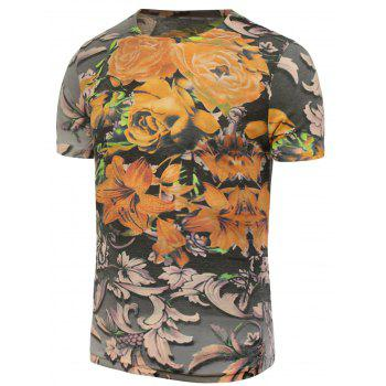 Flowers Printed T-Shirt - COLORMIX 4XL