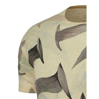 Feather Pattern Round Neck T-Shirt - L L