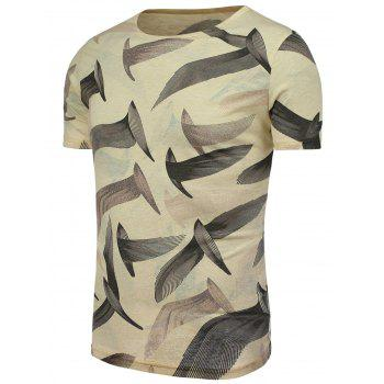 Feather Pattern Round Neck T-Shirt - COLORMIX 5XL