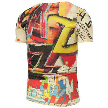 3D Colorful Graphic Printed T-Shirt - L L