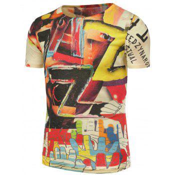 3D Colorful Graphic Printed T-Shirt - COLORMIX 5XL