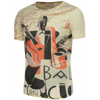 Abstract and Guitar Pattern Short Sleeve T-Shirt - COLORMIX L