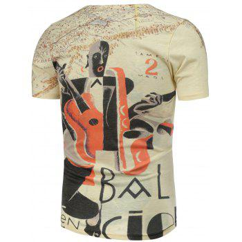 Abstract and Guitar Pattern Short Sleeve T-Shirt - L L