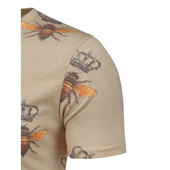 Bee and Crown Pattern Short Sleeve T-Shirt - L L