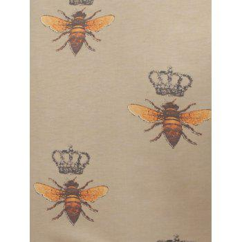 Bee and Crown Pattern Short Sleeve T-Shirt - 3XL 3XL