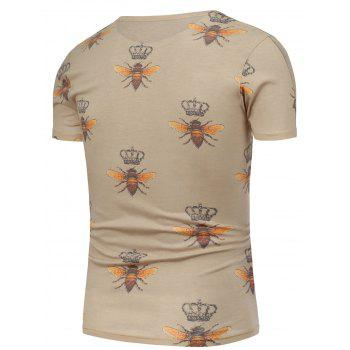 Bee and Crown Pattern Short Sleeve T-Shirt - 5XL 5XL