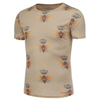 Bee and Crown Pattern Short Sleeve T-Shirt - COLORMIX 5XL