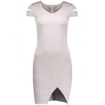 V Neck Cut Out Slit Bodycon Dress