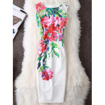 Floral Print Slit Sleeveless Sheath Dress