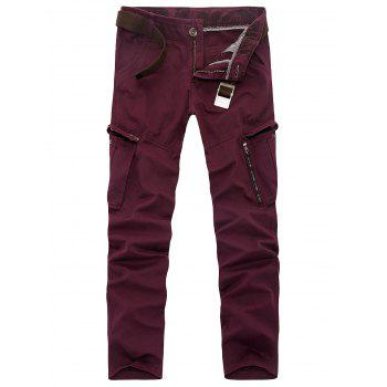 Pockets Zipper Fly Slimming Applique Pants