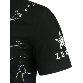 Star and Lines Printed T-Shirt - L L