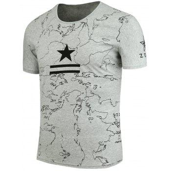 Star and Lines Printed T-Shirt - LIGHT GREY 3XL